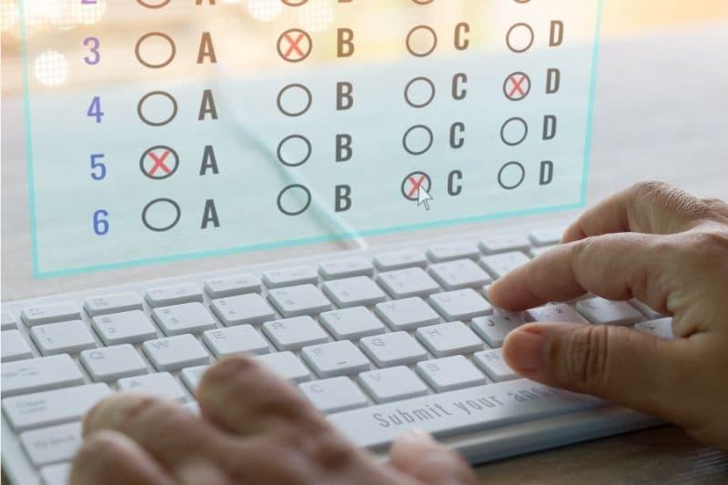 Multiple choice test on a digital computer screen