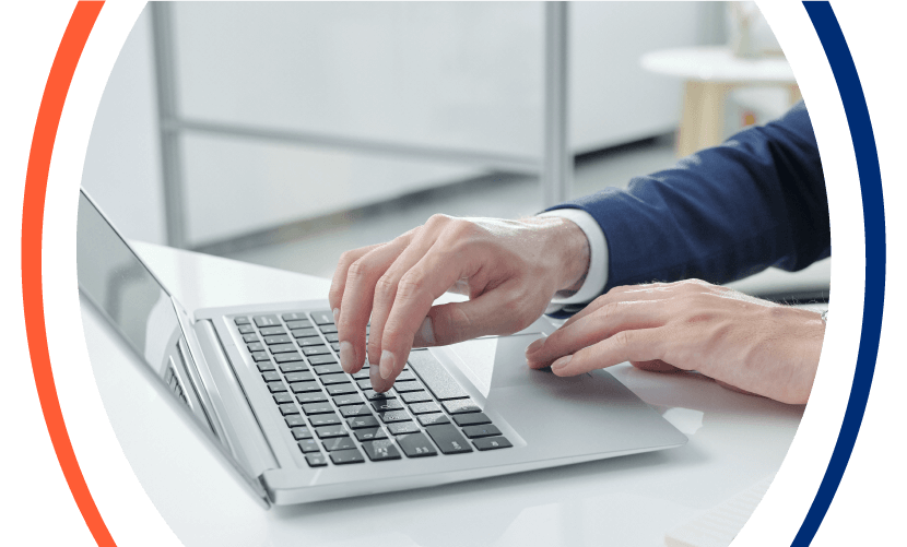 Hands Typing on Laptop Hero Image